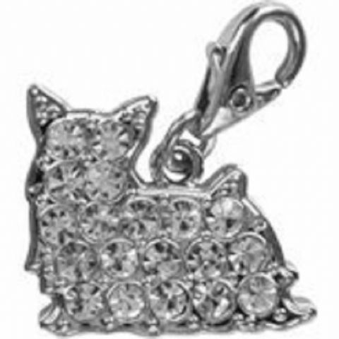 YORKSHIRE TERRIER CRYSTAL CHARM (CLEAR) FOR BAGS PHONES JEWELLERY ETC